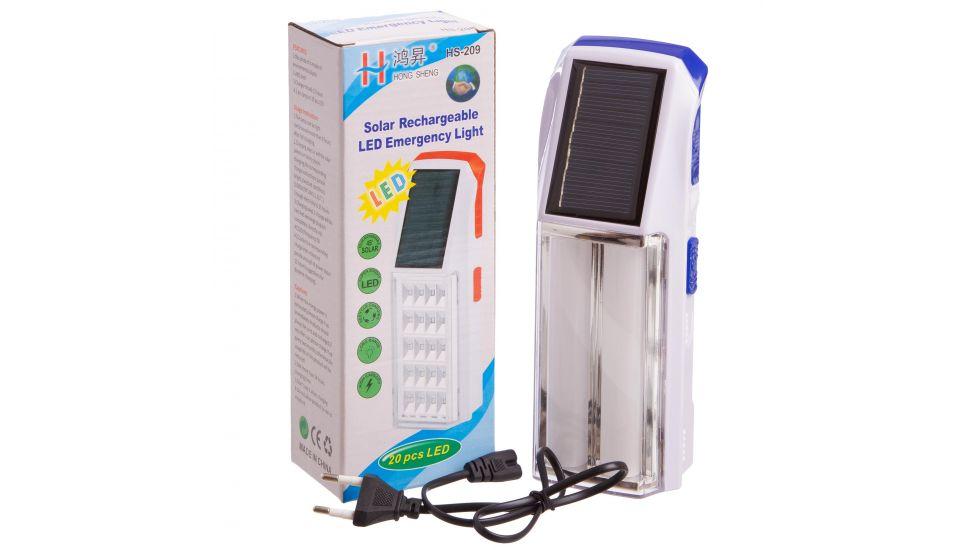 Фонарь аккум. светодиодный переносной SW208 (2 лампы, солн. бат., аккум., USB вход, р-р 19,5х7см)