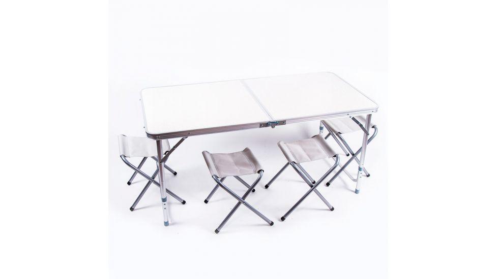 Стол туристический, алюминий, пластик белый, 4 стула, 120x60x70 - 55cm