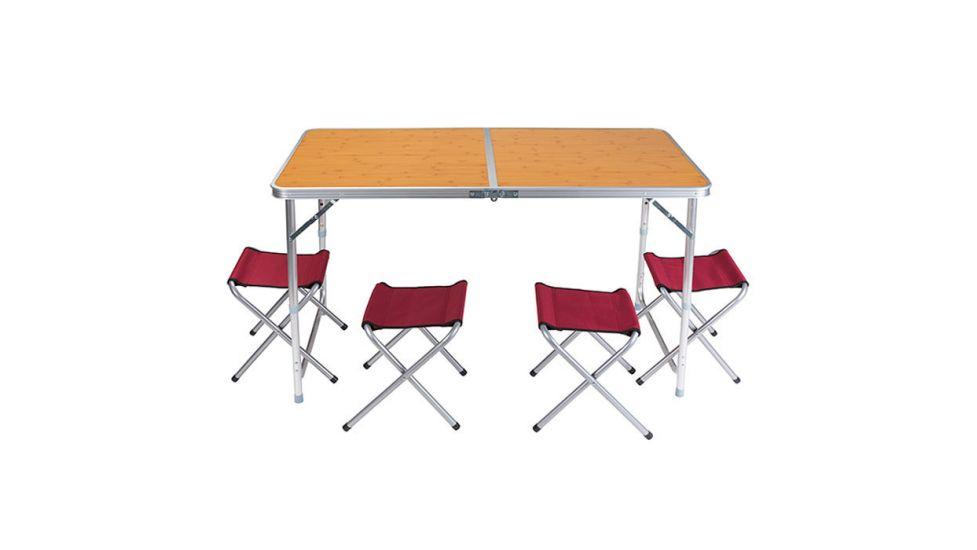 Стол туристический, алюминий, пластик бамбук, 4 стула, 120x60x70/55cm