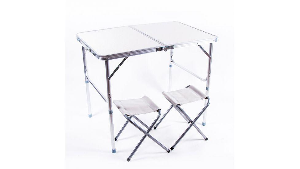 Стол туристический, алюминий, пластик, 2 стула, 90x60x70 - 55cm