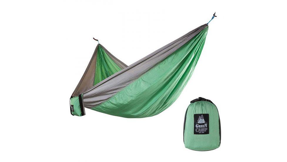 Гамак Green Camp Canyon, 310*220 см, парашютный шелк, серый/зеленый, крепеж, до 180кг.