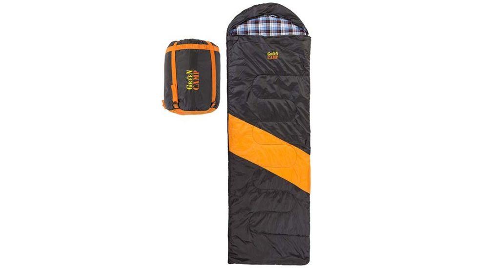 Спальник GreenCamp, одеяло, 450гр/м2, черно/оранжевый, подкладка Barberi, 230 х 75 см