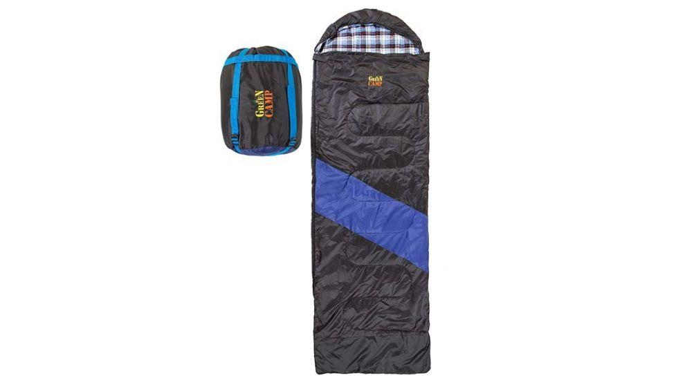 Спальник GreenCamp, одеяло, 450гр/м2, черно/голубой, подкладка Barberi, 230 х 80 см